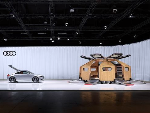 Installation view of the TT PAVILION and Audi TT Coupé at design miami/basel 2014. Photo: Tom Vack, image courtesy Audi AG.