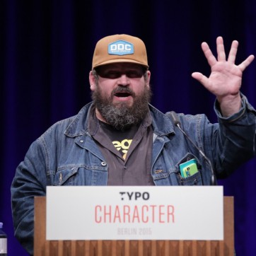 "No one embodies the conference theme ""character"" more than Aaron Draplin © Gerhard Kassner (Monotype)"