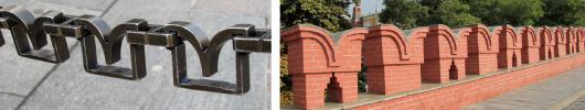 Charakteristisch ist die Form der Begrenzung zur Kath. des seligen Basilius (links) wie auch den Mauern des Kremls (rechts, ursprünglich zum Positionieren von Artilleriegeschützen gedacht)