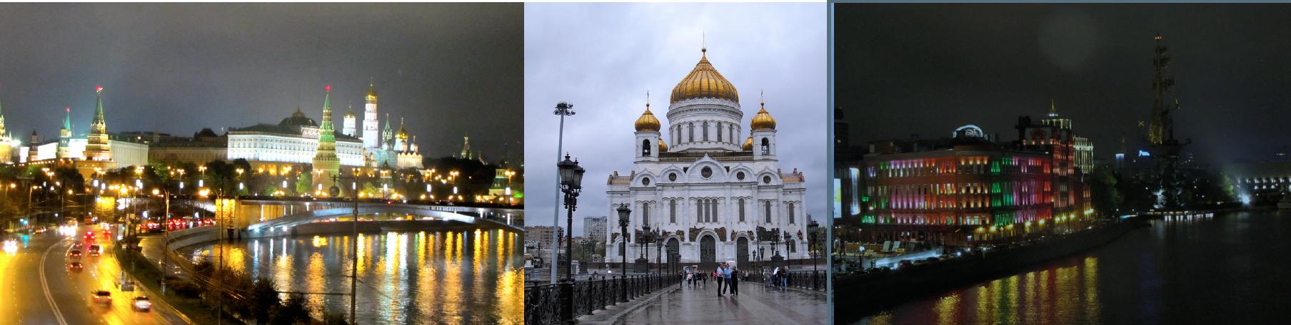 Christ-Erlöser-Kathedrale, Kreml bei Nacht, »Roter Oktober« bei Nacht