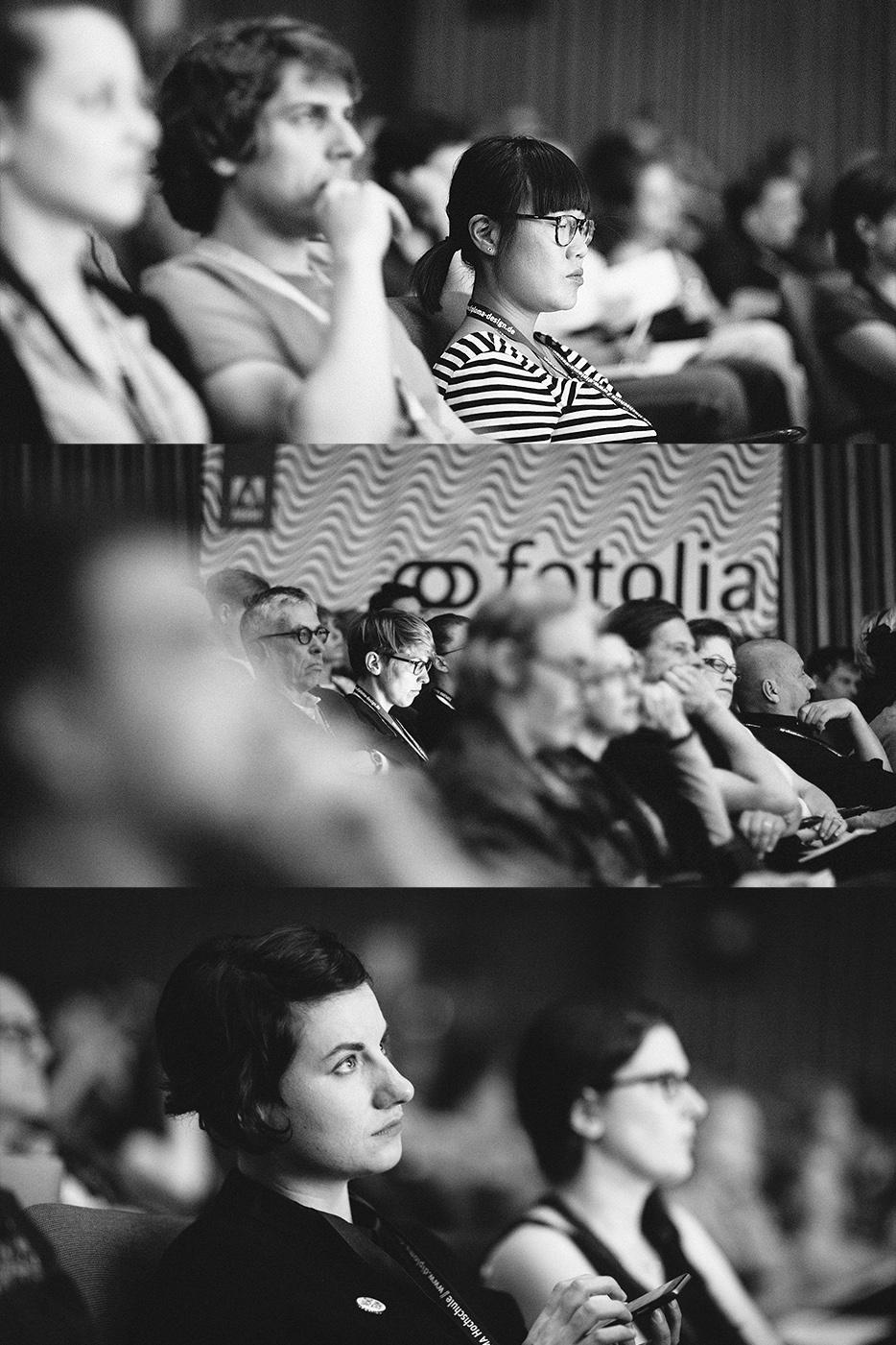 Konzentriert auf dem Weg vom Talk zum Blog-Post: Maggie Tang, Chris Campe, Kristina Schneider. © Norman Posselt / Monotype