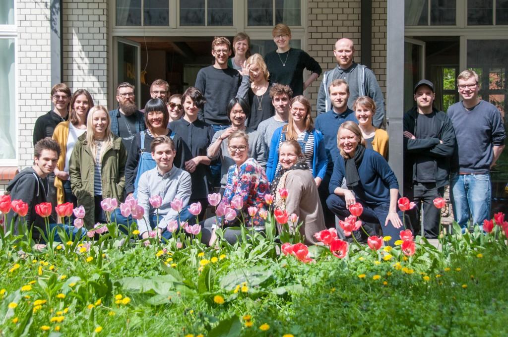 TYPO Berlin Editorial Team 2016 in the tulip garden at LucasFonts studio, Berlin