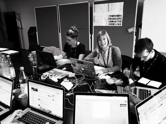 Christine, Jenny und Jan Vincent am ersten Konferenztag: hochmotiviert © Norman Posselt / Monotype