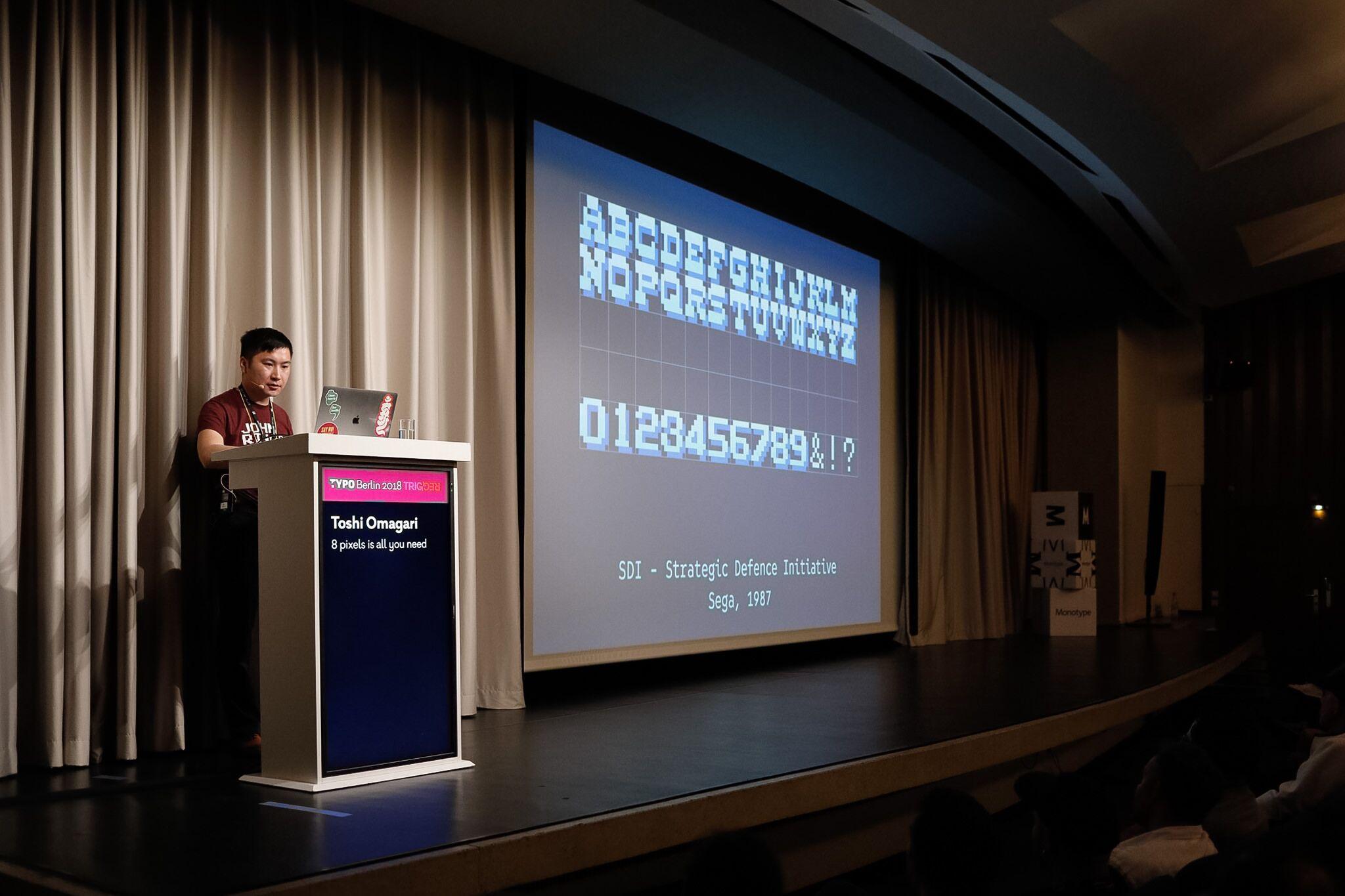 So sah eine typische Präsentation der Computerspielbuchstaben von Toshi Omagari aus.